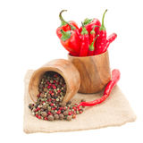 Mix of peppers in wooden bowls Stock Photography