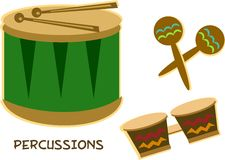 Mix of Percussion Instruments Stock Image