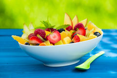 Mix of pieces of fresh delicious fruits in a bowl Royalty Free Stock Photos