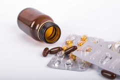 Mix of Pills and Medical Bottle Stock Photos