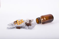 Mix of Pills and Medical Bottle Stock Photo