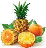 Mix of pineapple with orange fruits Royalty Free Stock Photography