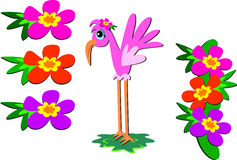 Mix of Pink Flamingo and Flowers Royalty Free Stock Image