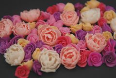 Mix of pink and Peach Fake Plastic Mini rosess Flowers Black Background copy space. Craft, Art, Hobby concept. Mix of pink and Peach Fake Plastic Mini rosess stock images