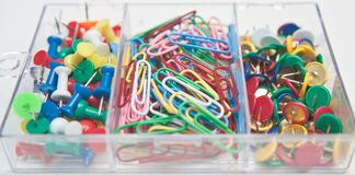 Mix of pins and paper clips Royalty Free Stock Image