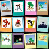 Mix of Polaroid  photos. Vector graphic Stock Photos