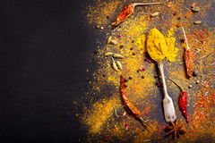 Mix of powder spices Stock Photo