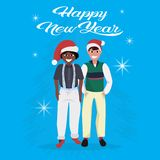 Mix race boys red hat happy new year merry christmas concept flat male cartoon character blue background full length stock illustration