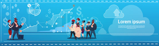 Mix Race Business People Group Wear Virtual Reality Glasses Finance Graph Financial Success Concept. Flat Vector Illustration Royalty Free Stock Photos