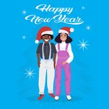 Mix race couple wearing red hat happy new year merry christmas concept flat blue background full length stock illustration