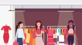Mix race customers holding dresses fashion boutique big shop female clothes shopping mall interior cartoon characters stock photo