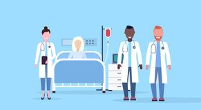 Mix race doctors team visiting patient senior woman lying bed intensive therapy ward healthcare concept hospital room vector illustration