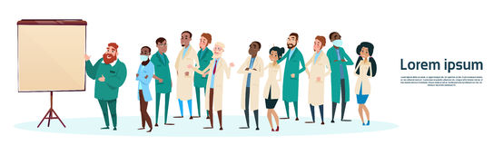 Mix Race Medical Doctors Group Team People Intern Lecture Study. Flat Vector Illustration Royalty Free Stock Photos