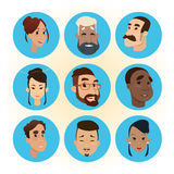 Mix Race People Faces Icon Set Diversity Concept stock illustration