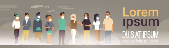 Mix race people group in mask over grey smog nature air pollution city landscape atmosphere male female full length copy. Space banner flat vector illustration stock illustration