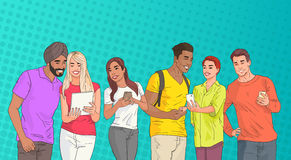 Mix Race People Group Using Cell Smart Phone Chatting Online Over Pop Art Colorful Retro Style Background Stock Image
