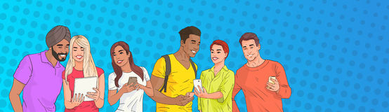 Mix Race People Group Using Cell Smart Phone Chatting Online Over Pop Art Colorful Retro Style Background Royalty Free Stock Images