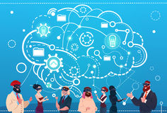 Mix Race People Group Using Gadgets Brainstorming Remote Workers Social Network Communication Concept. Mix Race People Group Using Gadgets Brainstorming Remote stock illustration