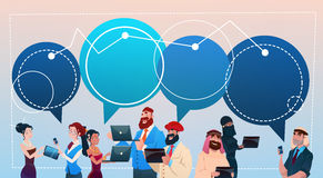Mix Race People Group Using Gadgets Chat Bubbles Social Network Communication Concept Stock Photography
