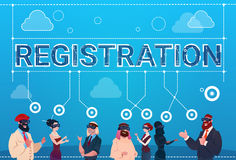 Mix Race People Group Wear Digital Reality Glasses Registration Log In Concept Royalty Free Stock Images
