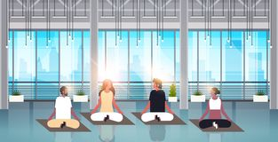 Mix race people sitting lotus position doing sport fitness exercises meditation relaxation concept modern gym interior. Male female cartoon characters flat vector illustration