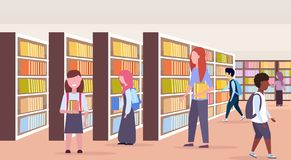Mix race students choosing books pupols near bookshelves rows modern library interior reading education knowledge vector illustration
