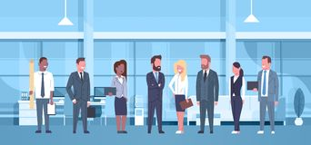 Mix Race Team Of Business People In Modern Office Concept Group Of Successful Businessmen And Businesswomen Workplace. Interior Flat Vector Illustration Stock Illustration