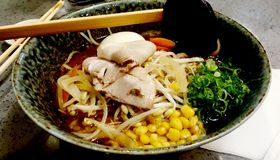 Mix foods ramen deliciously served stock images
