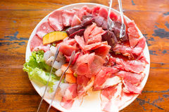Mix raw meat ready to grill and toast Royalty Free Stock Image