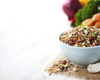 Mix of red  bean, lentil, green peas and chickpeas with vegetabl Stock Image