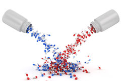 Mix of red and blue capsules Stock Photos