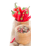 Mix of red pepper  and peppercorn Stock Image