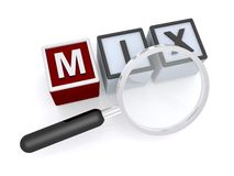 Mix. Red and white block toys with text graphics mix spelled in black and white lettering with magnifying glass Stock Image