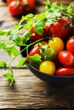 Mix of red, yellow and green tomatos Royalty Free Stock Photography
