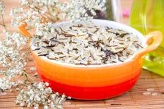 Mix rice in the orange bowl Stock Photo