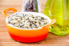 Mix rice in the orange bowl. Mix raw rice in the orange bowl with oil Stock Image