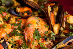 Mix Of Rice And Seafood - Paella Royalty Free Stock Photography