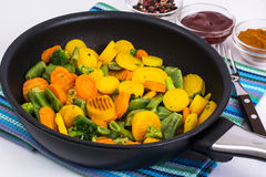 Mix of roasted vegetables in pan Stock Photography
