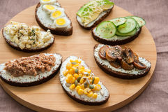 Mix of rye bread bruschettas with various filling. Royalty Free Stock Images