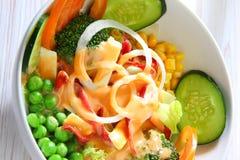 Mix salad. With thousand island sauce Royalty Free Stock Image