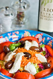 Mix salad with mozzarella and olives stock photo