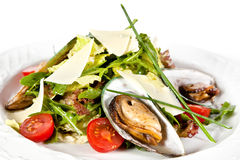 Mix salad with mussels Royalty Free Stock Photography