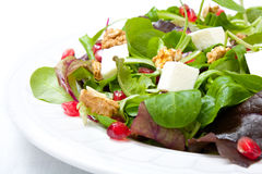 Mix salad with pomegranate, cheese and nuts Stock Photo