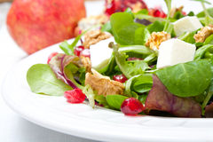 Mix salad with pomegranate, cheese and nuts Stock Photos
