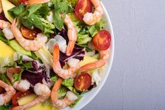Mix of salad with shrimps avocado and cherry tomatoes . Healthy food background. Mix of salad with shrimps , avocado and cherry tomatoes . Healthy food royalty free stock photography