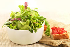 Mix salad and toast Royalty Free Stock Photography