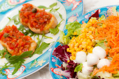 Mix Salad with tomato bruschetta Stock Photo
