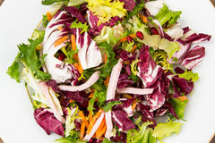 Mix salads with pomegranate and ham Stock Images