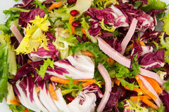 Mix salads with pomegranate and ham Stock Image