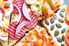 Mix of sandwiches Royalty Free Stock Photo